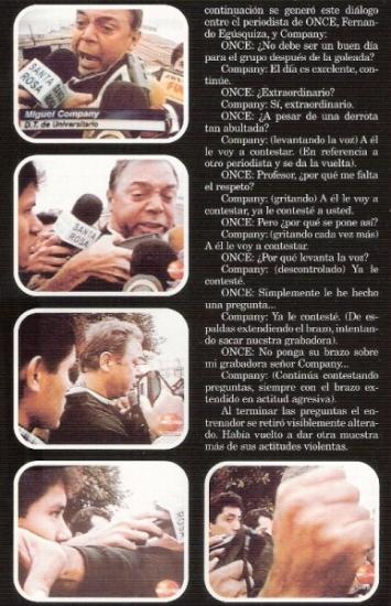 Secuencia fotográfica de su bronca con Fernando Egúsquiza (Recorte: revista Once)