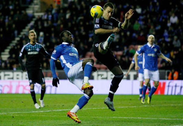 UNO ES NINGUNO. El Chelsea empató sorpresivamente ante el Wigan y cayó hasta la cuarta ubicación. (Foto: PremierLeague.com)