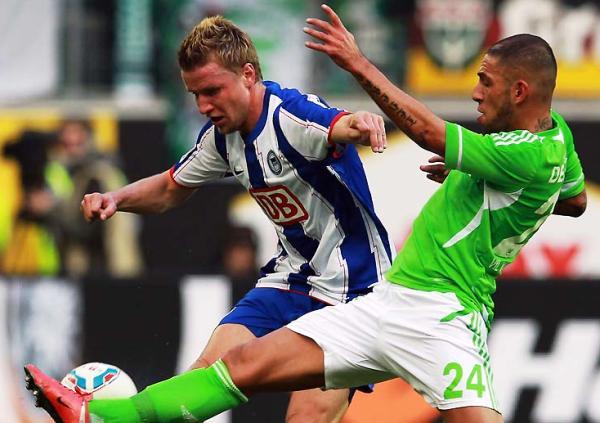 VALE EL ESFUERZO. En un emotivo cotejo, Hertha de Berlín se impuso como visitante 2-3 al Wolfsburgo. (Foto: Bundesliga.de)