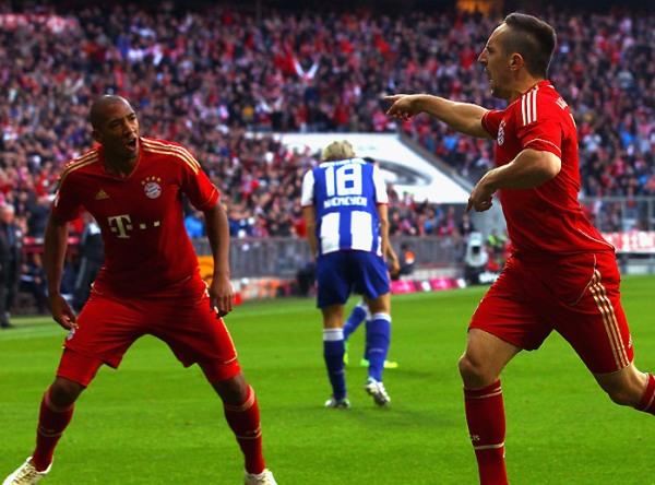 SIGUE FESTEJANDO. Con un inapelable 4-0, el Bayern derrotó sin contemplaciones al Hertha Berlín. (Foto: Bundesliga.de)