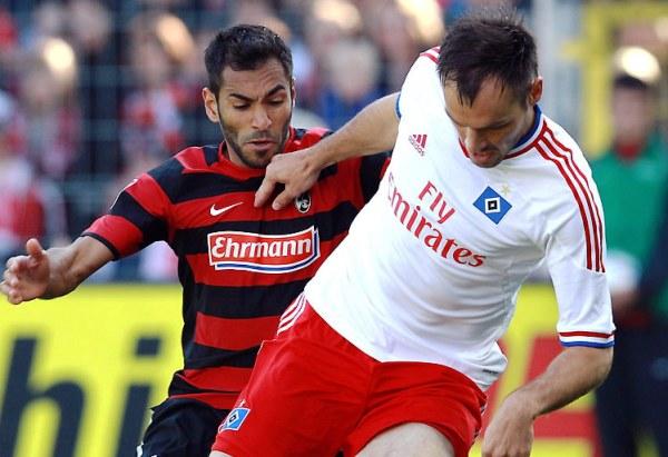 BAILAN CON LA VICTORIA. El Hamburgo de Paolo Guerrero consiguió un gran triunfo en condición de visita tras imponerse 1-2 ante el Friburgo. (Foto: Bundesliga.de)