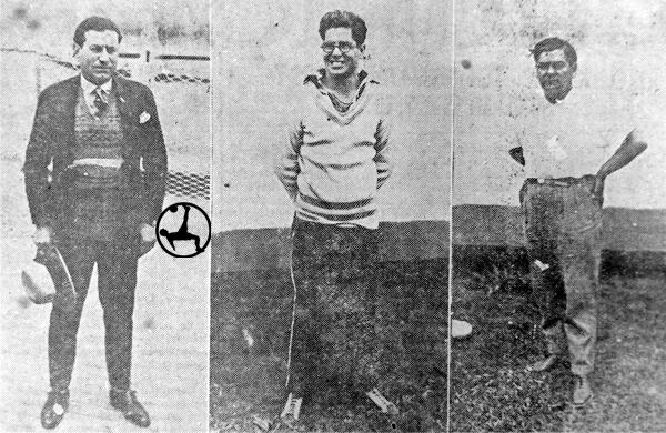 El comando técnico de Perú en 1927 formado por Pedro Olivieri, Raúl Blanco y el masajista Juanito Delgado (Recorte: diario La Crónica)