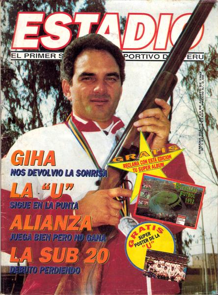 Juan Giha, medalla de plata en Barcelona 1992 y quien fue protagonista de la primera tapa de Estadio (Recorte: revista Estadio)