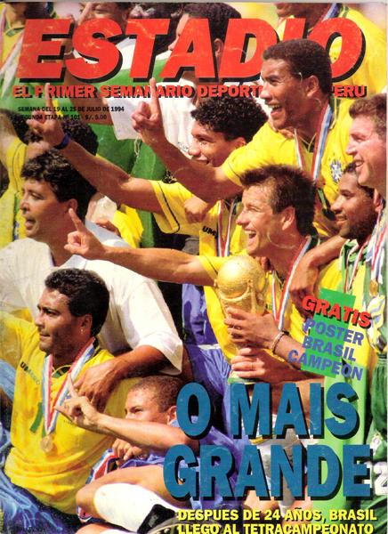 Otra tapa de colección de Estadio: con Brasil campeón en Estados Unidos 1994, mundial en el que la revista estuvo presente (Recorte: revista Estadio)