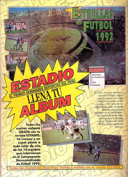 Imagen del álbum Estrellas del Fútbol 1992, el coleccionable mas celebre que lanzó Estadio en todo su período de existencia (Recorte: revista Estadio)