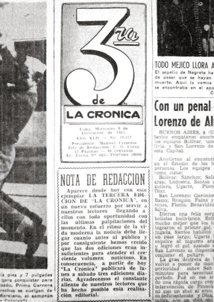 El primer número de La Tercera, edición de La Crónica que ganó renombre en pocos años (Recorte: diario La Crónica)