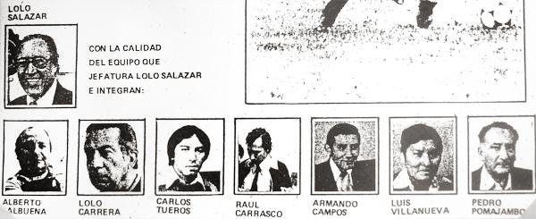 El plantel de periodistas que trabajó en La Crónica cuando 'Lolo' Salazar asumió la jefatura de la sección deportiva (Foto: cortesía Teodoro 'Lolo' Salazar)