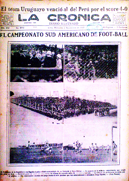 El primer partido de la selección peruana fue un acontecimiento que La Crónica reportó en su primera página (Recorte: diario La Crónica)