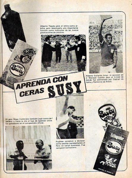 Un anuncio multideportivo con varios recuerdos y auspiciado por Ceras Susy. Destacan la presencia de Alberto Gallardo y Alberto Tejada padre en el día de su retiro como árbitro (Foto: revista Ovación)
