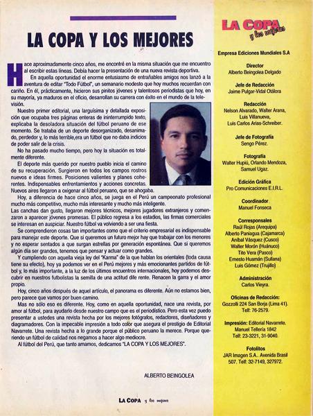 La dirección de la revista corrió a cargo de Alberto Beingolea (Recorte: revista La Copa y Los Mejores)