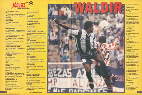Las preguntas de la sección Tóquela en Primera para Waldir Sáenz, el goleador de la temporada 1993 con Alianza (Recorte: revista La Copa y Los Mejores)