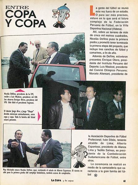 Nicolás Delfino, el doctor Jorge Alva, Jorge 'Chupo' Arriola y Alberto Espantoso aparecen mezclados en la sección Entre Copa y Copa (Recorte: revista La Copa y Los Mejores)