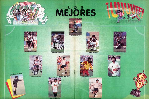 Uno de los equipos ideales que apareció en la revista durante el campeonato del '93 (Recorte: revista La Copa y Los Mejores)