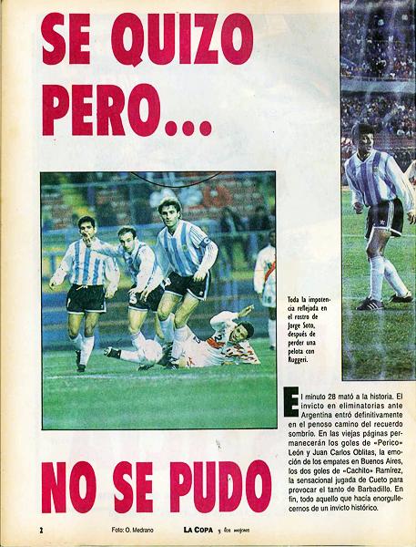 Las Eliminatorias de 1993 tuvieron de todo, hasta errores involuntarios en la cobertura de los partidos (Recorte: revista La Copa y Los Mejores)