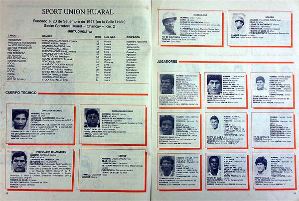 Parte del plantel de Unión Huaral en la temporada de 1989, una cobertura de Todo Fútbol en el fútbol peruano (Recorte: revista Todo Fútbol)