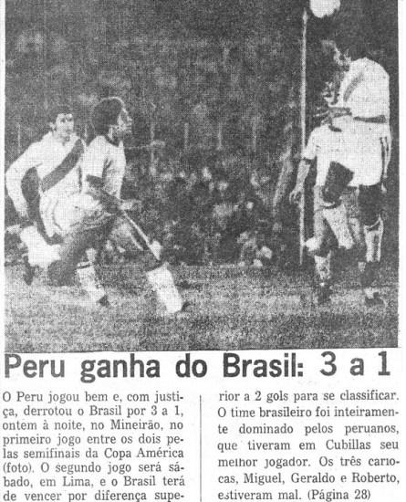 La prensa brasileña se sorprendió por el triunfo peruano pese a que se dio ante una selección estadual (Recorte: Jornal do Brasil / revista Ovación)