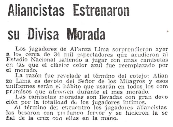 La nota periodística de 1971 que da cuenta del estreno del uniforme blanquimorado de Alianza Lima (Recorte: diario Correo)