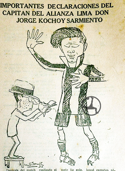 Jorge Sarmiento Koochoi en la prensa popular de los años veinte. (Recorte: semanario Sport Gráfico)