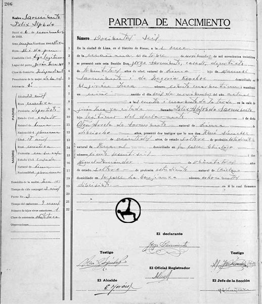 La partida de nacimiento de Félix Sarmiento, que demuestra que el ídolo aliancista se llamaba Jorge Sarmiento Koochoi. (Imagen: Arzobispado de Lima)