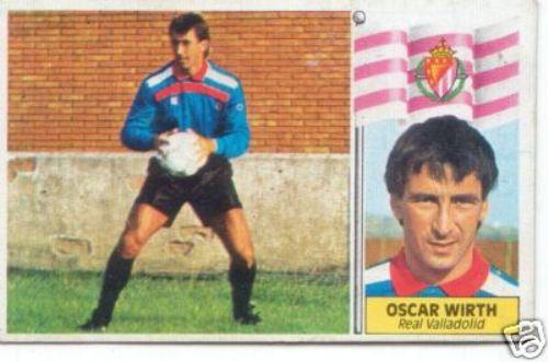 Cromo que recuerda su paso por la Liga Española en el arco del Real Valladolid, en 1985-1986 (Cromo: ebay.com)