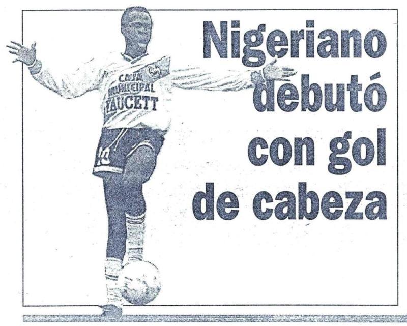 La aparición de Benji fue todo un boom mediático, por ser el primer africano que jugaba en el país (Recorte: diario Expreso)