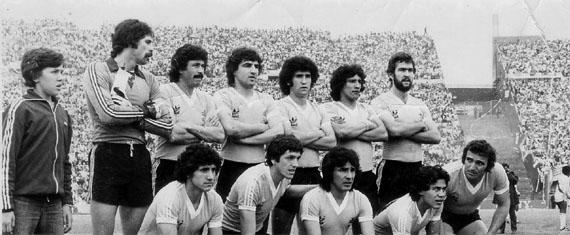 Con la selección uruguaya en 1980. Es el primero desde la izquierda (Foto: golbalear.com)