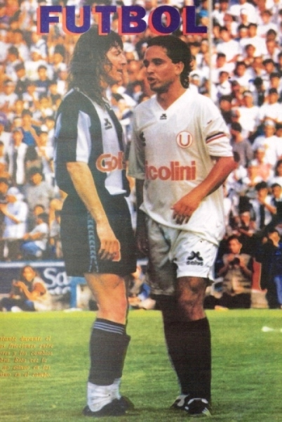 Codo a codo con Roberto Martínez el día del clásico de la bronca con Nunes (Recorte: revista Estadio)