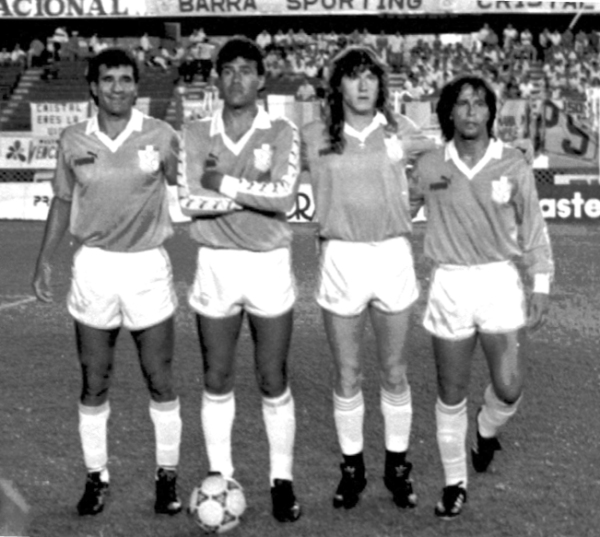 La armada argentina de Cristal en 1990: Argüeso, Galván, Kopriva y Cincunegui (Foto: cortesía Luis Alberto Sánchez)