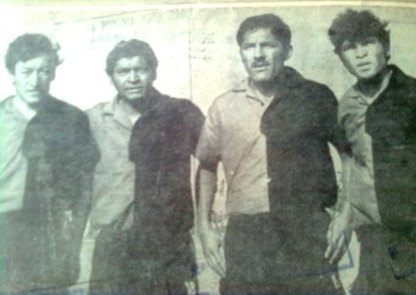 Ya establecido en Melgar, Blacut aparece en esta imagen con otros jugadores de le época: César Ticona, Ruffo Fernández y emilio Barra (Recorte: diario Correo de Arequipa)