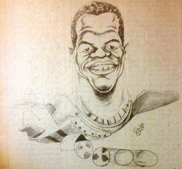 Caricatura de Rosinaldo cuando era el delantero de moda en Matute. (Dibujo: revista Soy Alianza)