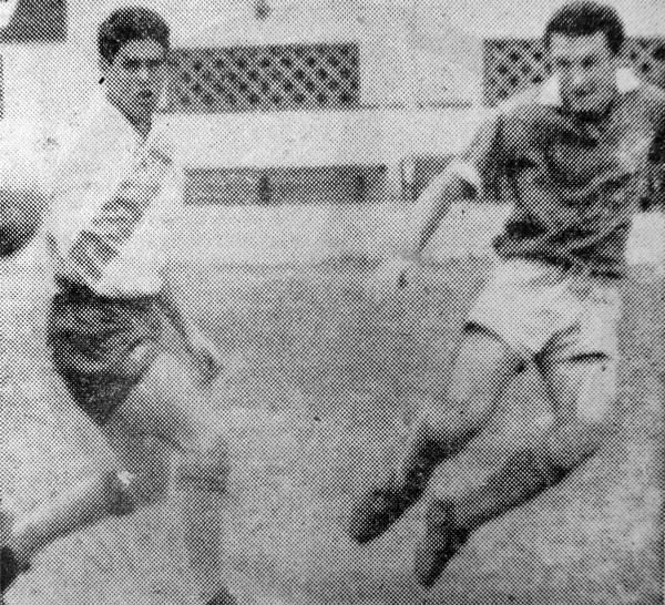 El 'Polaco' Cap controla la acción durante el partido que con el Miraflores disputó ante Municipal (Recorte: diario La Crónica)