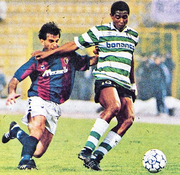 ¿Cómo un jugador de buen cartel -en la imagen disputando la Copa UEFA 1990/91 con el Sporting Clube- llega al Perú? (Foto: Diario Público)