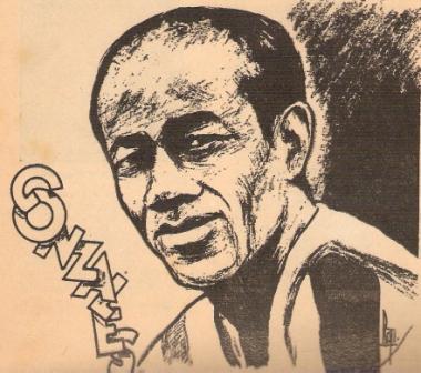 El 'Patrullero' cuando comenzaba a ser ídolo, en un grabado de 1945 (Caricatura: revista Sport)