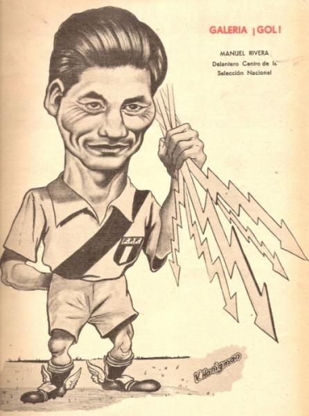 Inmortalizado, como grande que fue, en una caricatura de Hanigman (Imagen: revista ¡Gol!)