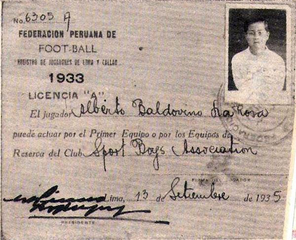 Imagen del carnet de afiliación del 'Pibe' Baldovino de 1935, año en que se sumó a las filas del Sport Boys. (Recorte: revista Balón de los Deportes)