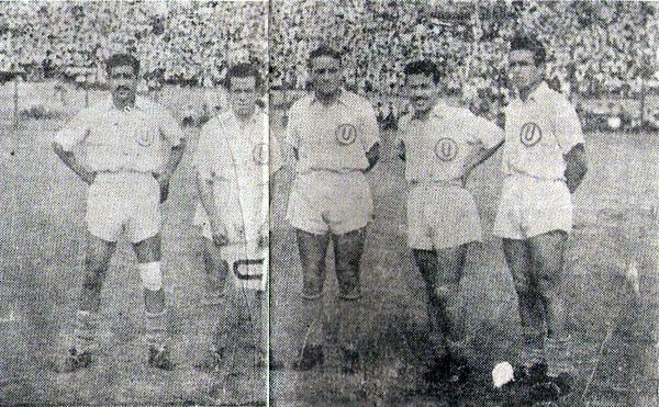 Delantera de Universitario a fines de 1944: Marcial Hurtado, 'Titina' Castillo, 'Lolo' Fernández, Alberto Baldovino y 'Lolín' Fernández. (Recorte: revista Balón de los Deportes)