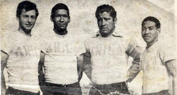 Referentes de Defensor Arica en su primera campaña en Primera: Napoleón Rodríguez, Julio Meléndez, Otorino Sartor y Nemesio Mosquera. (Foto: blogspot.com)