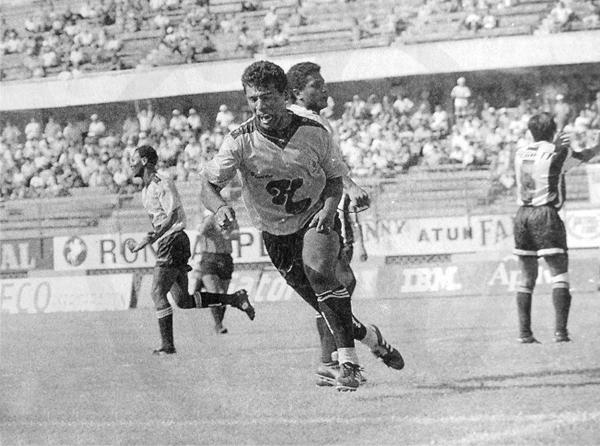 Gritando un gol con Sport Boys sobre el arco de Alianza Atlético (Recorte: diario El Bocón)
