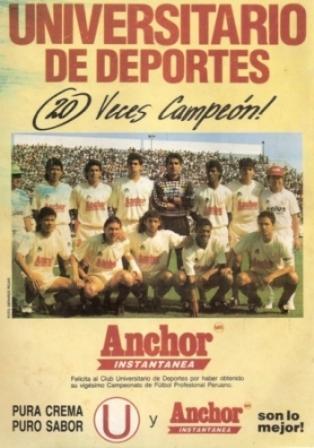 Publicidad de reconocimiento de Anchor a Universitario por el título de 1992 (Recorte: revista Estadio)