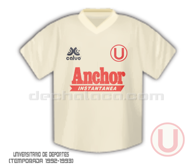 La camiseta crema fabricada por Calvo y auspiciada por Anchor en las temporadas 1992 y 1993 (Ilustración: Sandro Mena / DeChalaca.com)