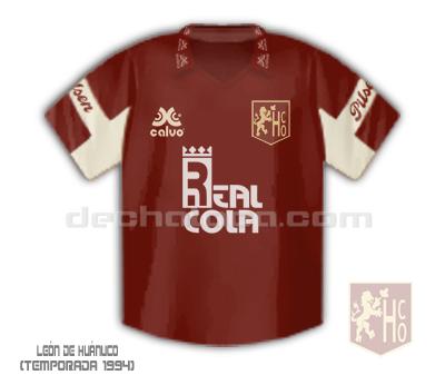 Camiseta de León de Huánuco en la temporada 1994, marca Calvo (Ilustración: Sandro Mena / DeChalaca.com)