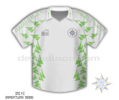 La primera camiseta del IMI, sin 'sponsor' y de vivos verdes sobre fondo blanco (Ilustración: Sandro Mena / DeChalaca.com)