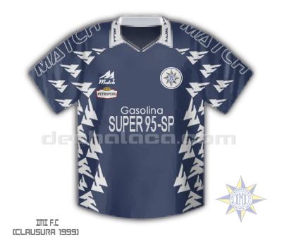 El diseño que predominó en el Clausura '99: chompa azul con vivos blancos, siempre con Gasolina Super-95-SP en el pecho (Ilustración: Sandro Mena / DeChalaca.com)