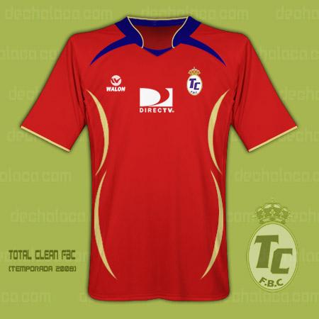 La camiseta de Total Clean, similar a la de España y confeccionada por Walon. DirecTV se mantiene como auspiciador, tal como en la campaña en Primera de 2007 (Ilustración: Sandro Mena / DeChalaca.com)
