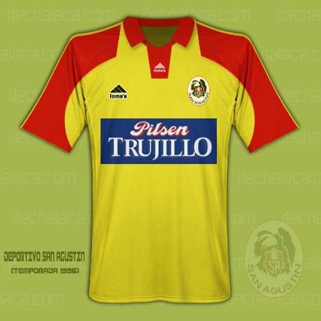 Camiseta de San Agustín en 1996, marca Loma's y auspiciada por Pilsen Trujillo (Ilustración: Sandro Mena / DeChalaca.com)