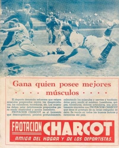 Otra de las publicidades de Charcot. Como se nota, se basaba en béisbol como temática (Imagen: revista Equipo)