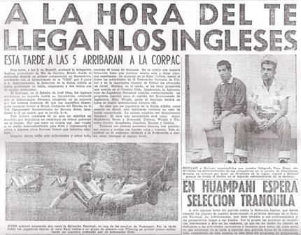 La selección concentró en Huampaní y jugó allí sus amistosos previos al choque ante los ingleses (Recorte: diario La Crónica, 14/05/59)