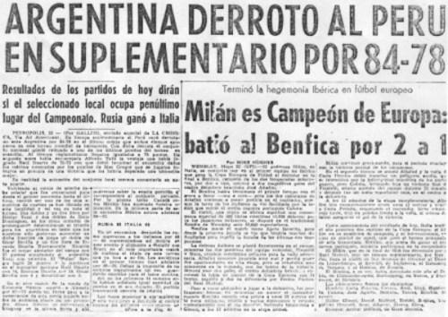 Ínfima cobertura dada por la prensa local al éxito del 'Conejo' Benítez en Europa. Definitivamente, otros tiempos (Recorte: diario La Crónica, 23/05/63, segunda sección p. 1)