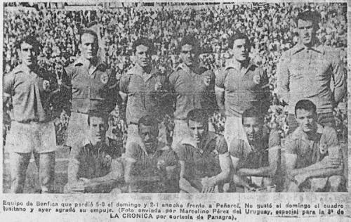 El equipo que el Benfica alineó en Montevideo para el cotejo de vuelta ante Peñarol. Eusebio estuvo ausente y solo reapareció para el choque de desempate (Foto: diario La Crónica)
