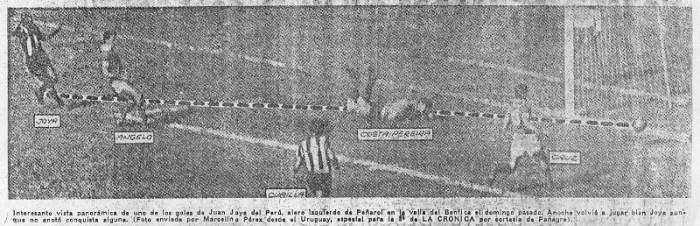 El primer gol anotado por Juan Joya en el segundo partido ante el Benfica se produjo tal cual lo representa la imagen (Recorte: diario La Crónica)